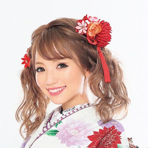 【髪飾り】レトロ菊 Red