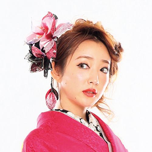 【髪飾り】ドデカ百合ロングPink