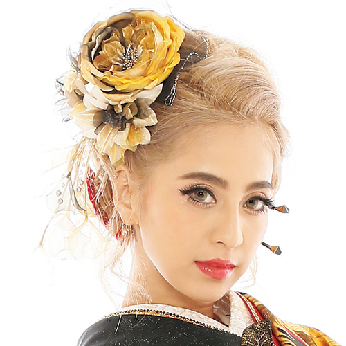 【髪飾り】牡丹ロングGold