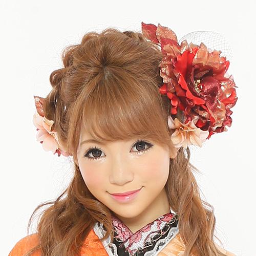 【髪飾り】薔薇レッド