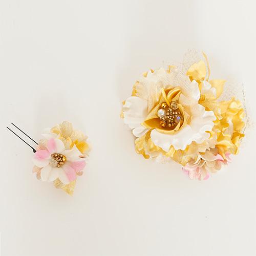 【髪飾り】薔薇ゴールド