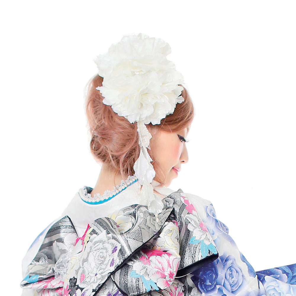 【髪飾り】超ドデカ牡丹White