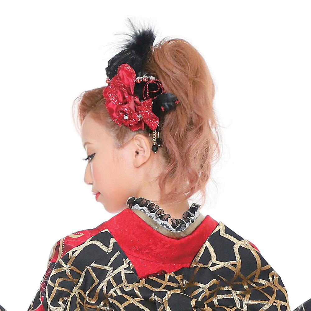 【髪飾り】薔薇ラメblackファー付きRed
