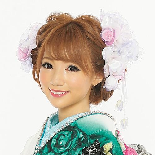 【髪飾り】ロングフラワーPurple