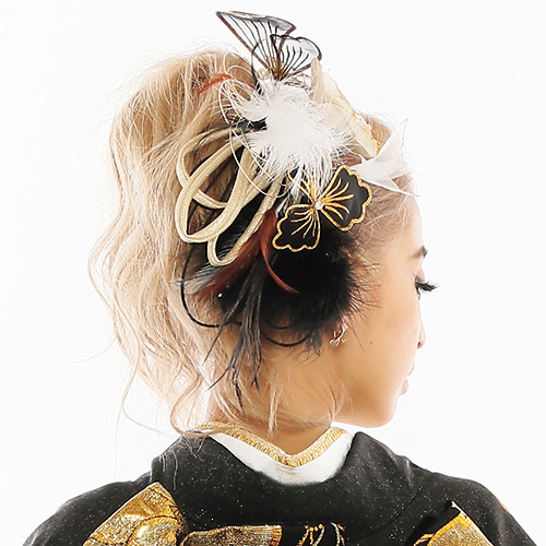 【髪飾り】蝶花&ファーGoldBlack