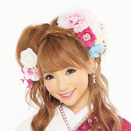 【髪飾り】フラワーパステルPink