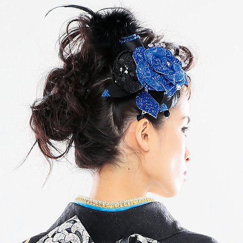 【髪飾り】薔薇ラメblackファー付きBlue