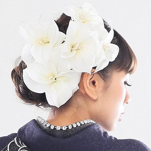 【髪飾り】超ドデカ百合5輪White