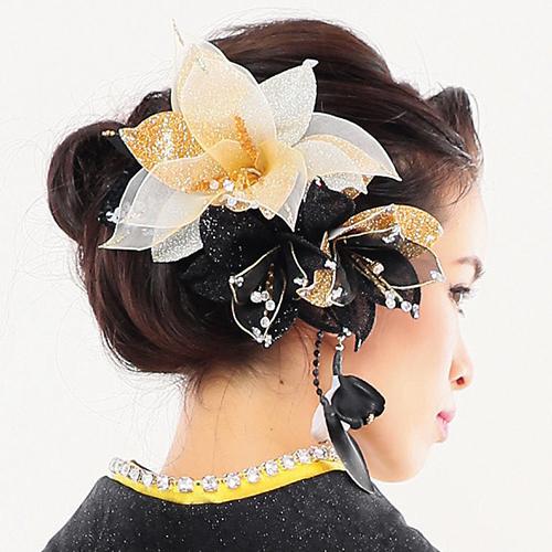 【髪飾り】ドデカ百合ロングGold