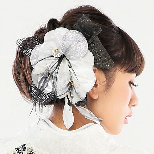 【髪飾り】銀ラメフラワーレースSilver