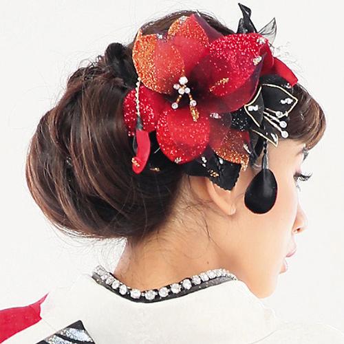 【髪飾り】ドデカ百合ロングRed