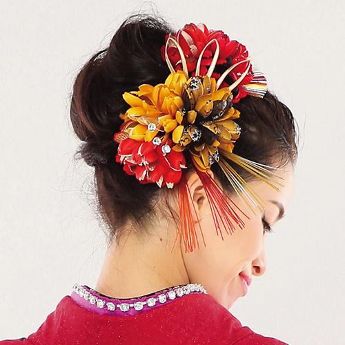 【髪飾り】3色菊Red