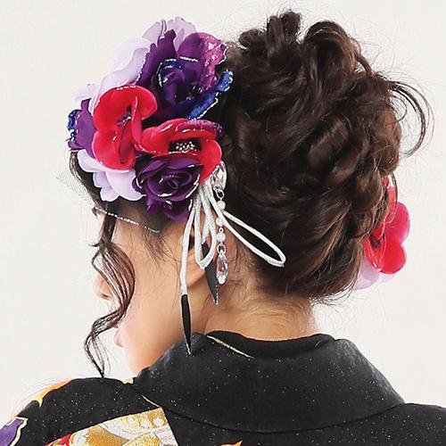 【髪飾り】ロングフラワーPurpleWine