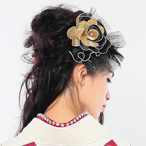 【髪飾り】薔薇蝶黒Gold