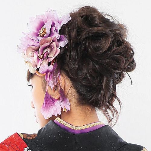 【髪飾り】牡丹紫