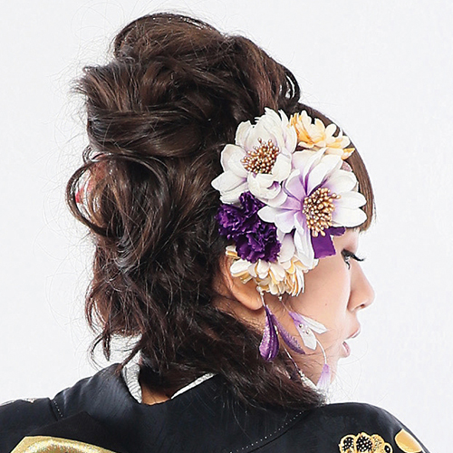 【髪飾り】玉カン黒