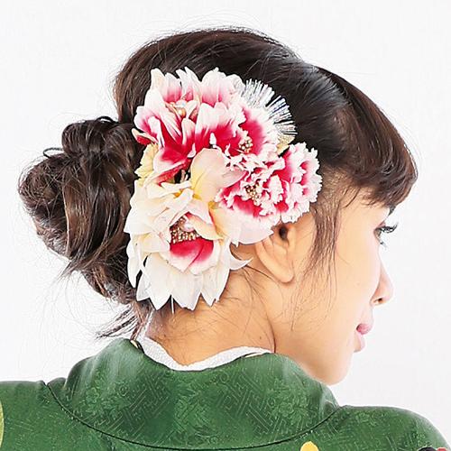 【髪飾り】フラワーブーケRedWhite