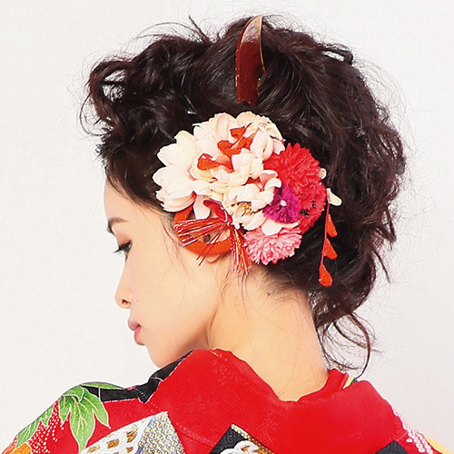 【髪飾り】菊赤