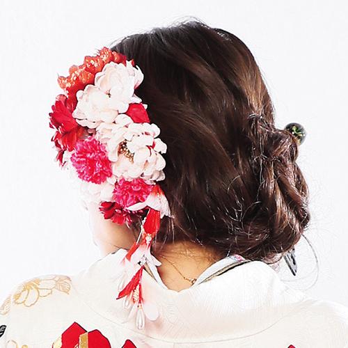 【髪飾り】生花風紅白菊藤