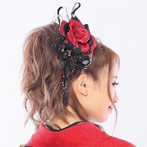 【髪飾り】赤黒薔薇百合レース