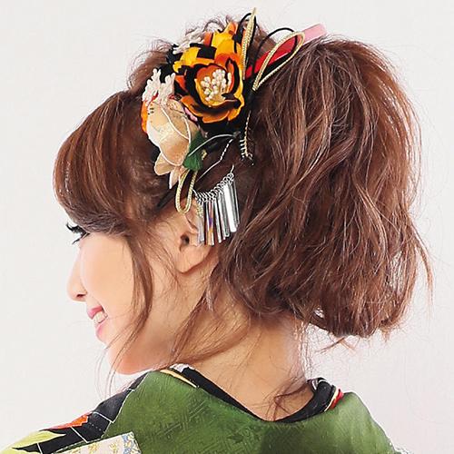 【髪飾り】玉カン赤