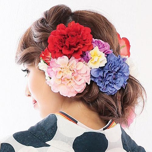 【髪飾り】カラフルブーケ