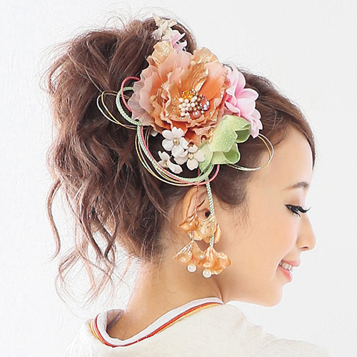 【髪飾り】牡丹オレンジ