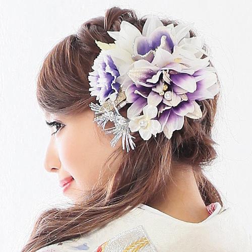 【髪飾り】フラワーブーケPurpleWhite