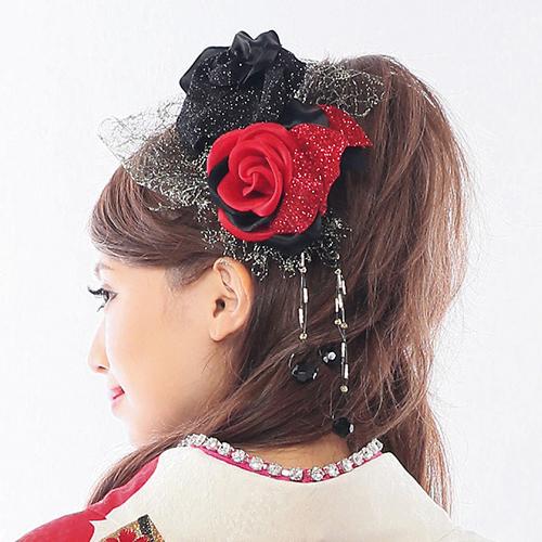 【髪飾り】赤黒薔薇レース